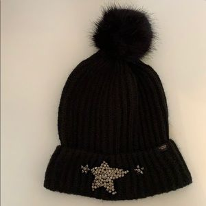 Victoria's Secret black Pom rhinestone star beanie